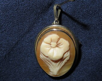 "1970's Italian CAMEO Carved CORAL Flower Pendant and Brooch in One, Small, 1"" Long (#846)"
