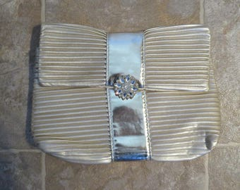 "Pleated Clutch, GOLD PVC/Polyester, 10"" Wide, 7"" Depth (#20J)"