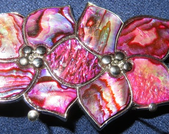 """VINI Enameled Floral Brooch Silver, Pink/Purple Abalone Design in Silver Setting, 2""""x 1"""" (#772)"""