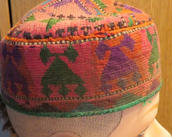 "VINTAGE TURKISH Child's Kofi HAT, Ethnic Cap, Tribal Hat, Ottoman Cap, Small, 7"" Diam.  (#10J)"