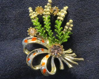 """Enameled Lucky White HEATHER/Bouquet Pin-Back Brooch, Silver Tone with PINK Rhinestones, 1.5"""" x 1"""" (774)"""