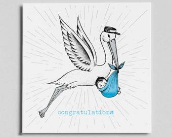 New Baby - Greetings card. Stalk card, baby card, vintage card, hand drawn, new baby card, new born, congratulations card, baby