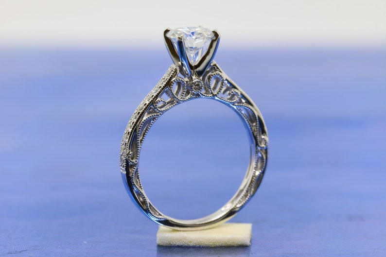 a2c1163952be8 Round 6.5mm Forever One Moissanite Engagement Ring in 18k White Gold.  Mil-grain and Filigree Details, Classic and Vintage Cathedral Setting