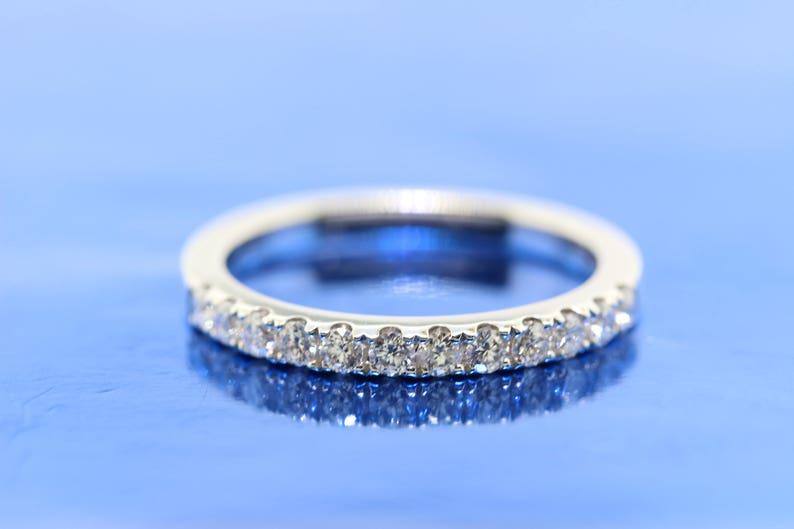 Ladies 18k Diamond White Gold Wedding Band Anniversary Band Etsy