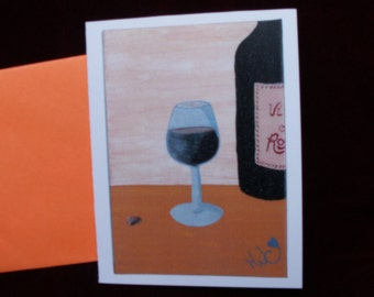 Wine Card//birthday//party invitation//original handmade card print//Stationery//folk art//blank//gift//celebration//correspondence