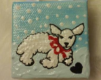 SALE!!!//Miniature Fine Art Painting/Lamb in Snow/Holiday//Child Gift under 20/Winter/Housewarming/Handmade/Hand Painted/Folk Art/Vermont