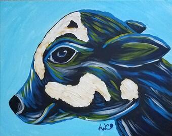 Cow Art / Baby Blue Moo / Farm / Original Hand Painted Acrylic / 16 by 20 / Calf / Baby / Vermont / New England / Folk Art/ Whimsical / Pet