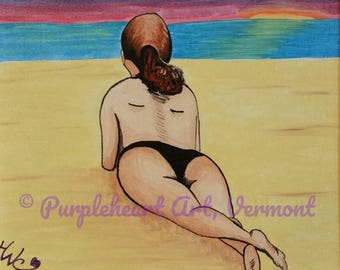 PRINT/Beach Bather//Fine Art Giclee//Woman//Female Figure//Pin Up//Folk Art/Boudoir/Birthday/Mother's Day/Housewarming/Gift for Her under 20