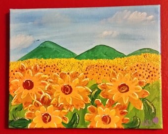 Sunflowers//Folk art painting//autumn//summer//fall//housewarming//gift//christmas//holiday//handpainted//handmade//acrylic//canvas