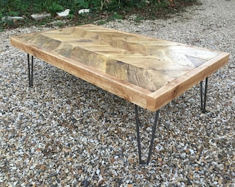 Reclaimed Wood Chevron Coffee Table - Scaffold Furniture / Hairpin Legs