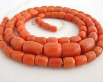 Antique Natural Coral Necklace, Coral Jewelry, Mediterranean Coral Beads, Natural Colour Coral