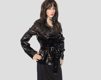 bc884a1c43f127 90s Vtg Black PVC Faux Leather Buckle Collared Panel Goth Grunge BDSM  Mistress Jacket Coat Size Small Medium