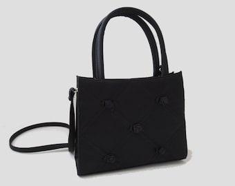 f30980ffb9 90s Vtg Mini Rosebud Clueless Goth Black Cute Pillowed Retro Strappy Handbag  Shoulder bag Size Small