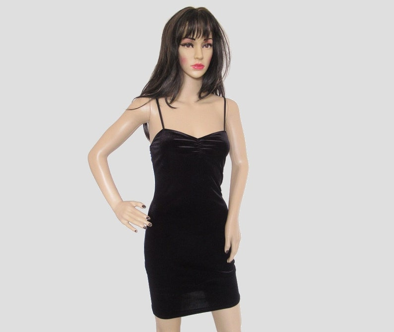 Vintage 90/'s Y2K Black Velvet Pinched Mini Slinky Clubbing Goth Grunge Clueless Dress Size Small