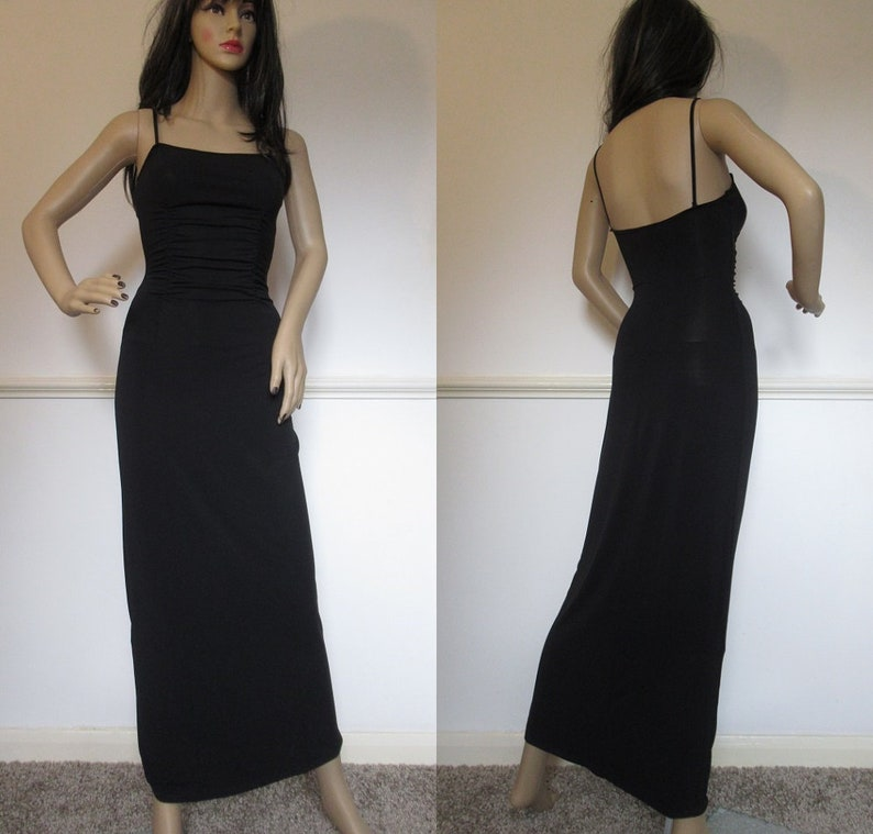 Vintage 90/'s Y2K Black Crinkle Long Maxi Bodice Goth Grunge Pinched Clueless Ballgown Slinky Dress Size Small