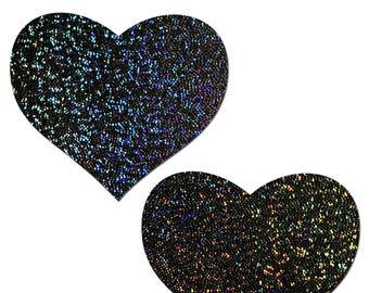 Nipple Cover Pasties - Love Black Glitter Heart  - Peel & Stick, One Size - Sweat/Waterproof, Gluten/Latex Free, - Hypoallergenic Seamless