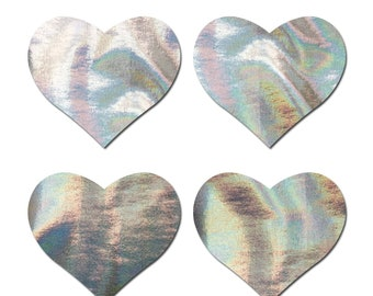 Pasties - Petites: Two-Pair Small Holographic Silver Hearts  Nipple Pasties by Pastease® o/s