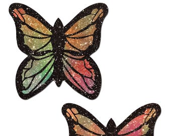 Pasties - Monarch: Glitter Pastel Rainbow Butterfly Nipple Pasties by Pastease® o/s