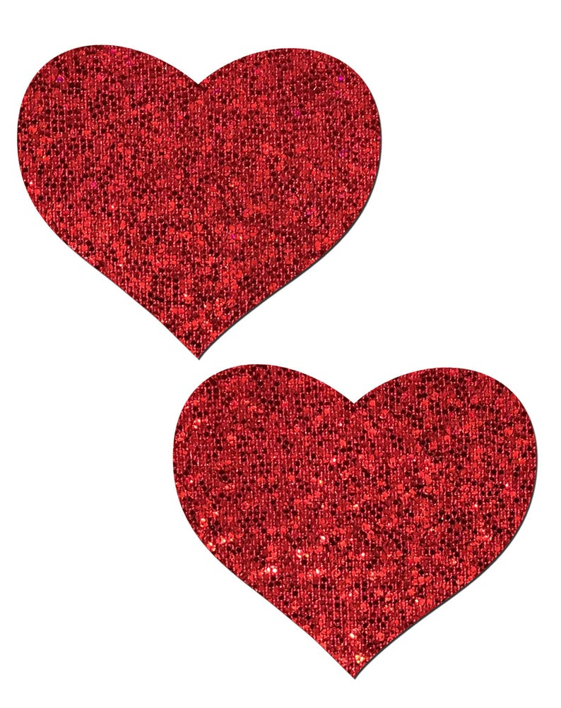 Red Glitter Heart Nipple Pasties by Pastease\u00ae os Pasties