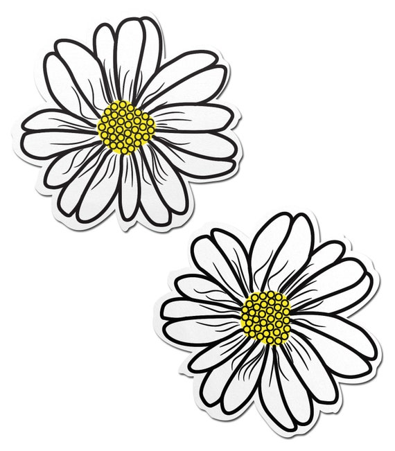 Nipple Covers Daisies Pasties Black Soft Discreet 5 Pairs