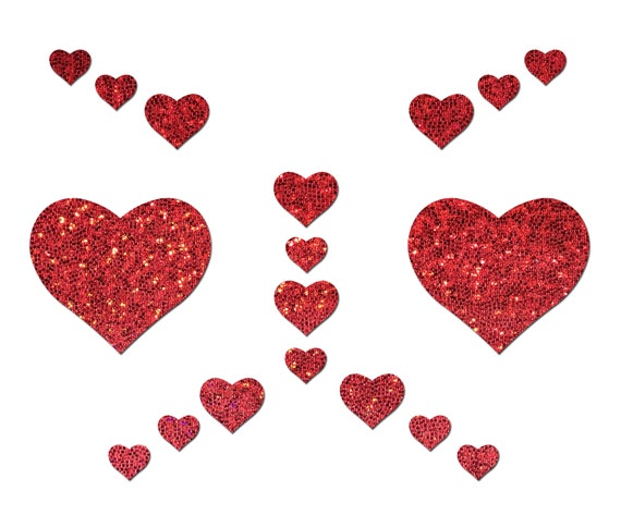 2 Pairs Nipple Pasties Self-Adhesive Red Glitter Heart /& Black X