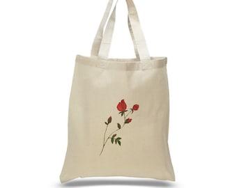 rose canvas tote bag