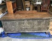 Antique early 1800s Cypriot carved dower marriage cassone chest