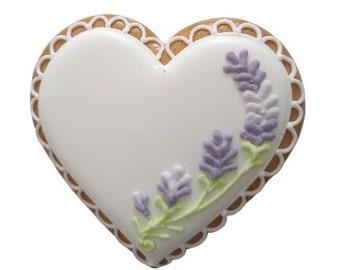 Essbare Tischkarte, Platzkarte, handgemachtes Gastgeschenk mit Lavendelblumen zur Hochzeit