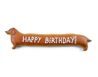 Happy Birthday Dackel oder Party Namenschild Keks