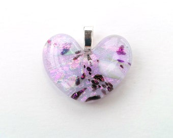 Dichroic Fused Glass Heart Pendant  - Hearts Collection - Pink, purple, black, white