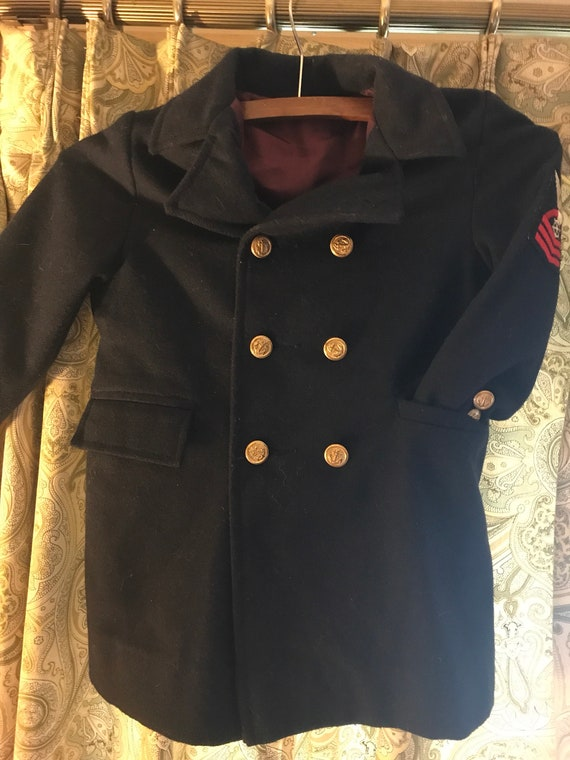 VINTAGE Child's Navy PEA COAT
