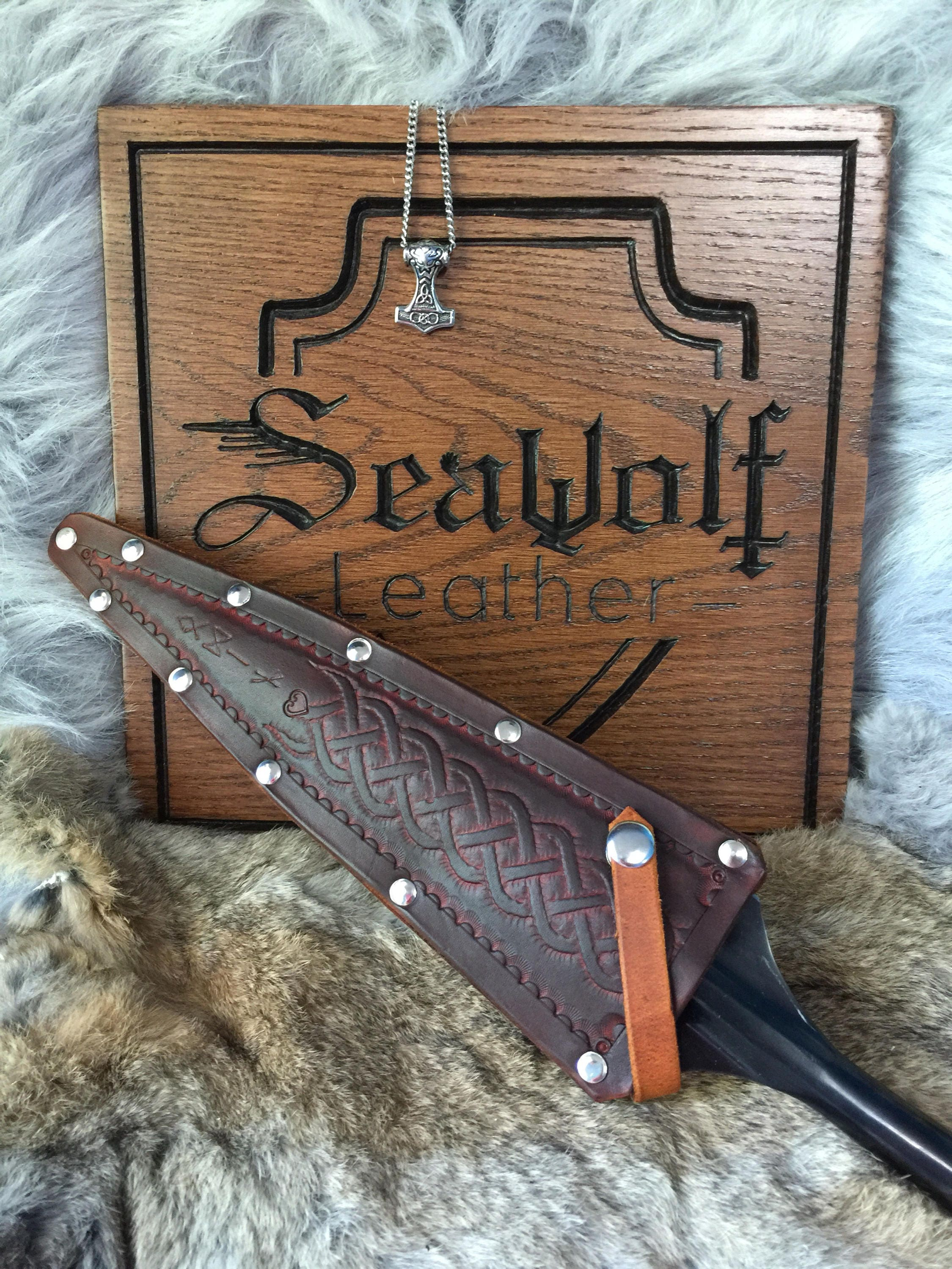 Cold Steel medieval spear, boar spear, lance, leather cover, Viking