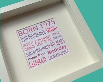40th Birthday Gift Personalised Framed Artwork 1977