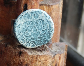 Small Ceramic Blue Heart Patterned Ring
