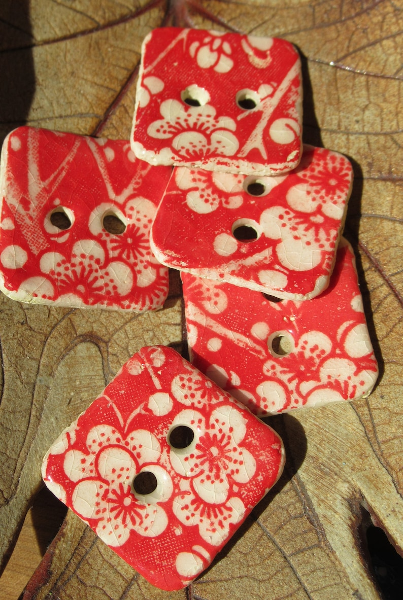Buttons Ceramic square hand made red and white blossom five in set unique japanese tissue paper design