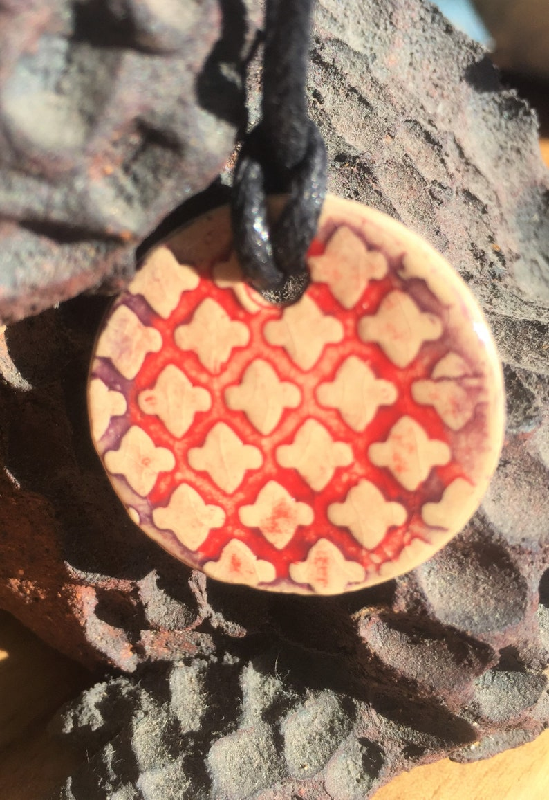 Earthy Purple and Red Middle Eastern Patterned Ceramic Necklace