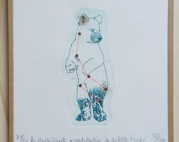Constellation of the Little Dipper - framed