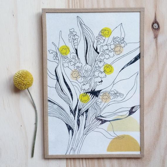 Flower 10- yellow or blue version (framed)