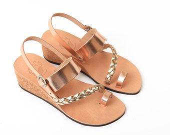 02f131332ac1 Handmade Greek Leather Sandals - Metallic Sandals - Toe Ring - Wedding  Sandals - Rose Gold - Braided Sandals - Bridal Shoes - Summer Wedding