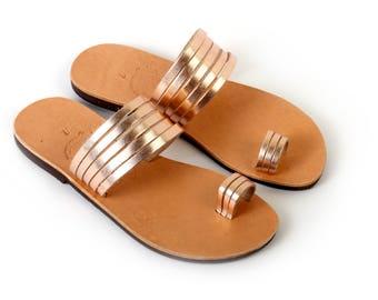 a37c35d0814b10 Greek Leather Sandals - Rose gold Sandals - Bridal Shoes - Wedding Sandals  - Toe Ring Sandals - Bridesmaid - Gift for Her - Boho Sandals