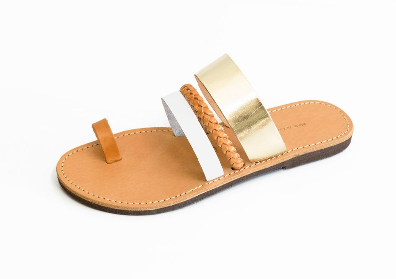 Greek Leather Ring Slides Toe Gold Grecques Metallic Handmade Goldwhitebrown Wedding Sandales Sandals ARjL54