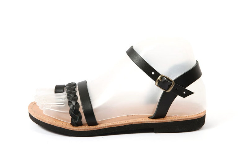 Ancient Greek Style Inspired Toe Ring Sandals Handmade Greek Leather Sandals Braided Sandals Black Leather Sandals