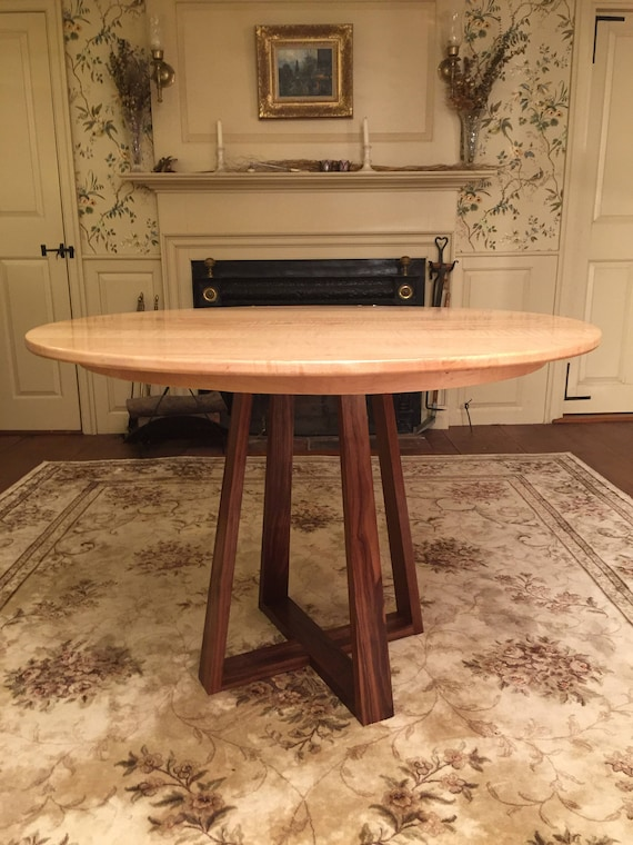 Craftsman Style Pedestal Dining Table, walnut and oak, round, square or  oval traditional construction