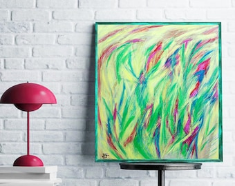 Contemporary Art, Original Modern Art, Flowers Abstract Painting, Wall Art Painting,  Landscape Painting, Art Sale, Green Abstract Painting