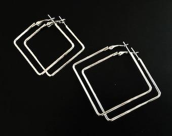 Square Hoop Earrings,silver Hoop Earrings ,Hoop earrings, vintage hoop earrings,Geometric Hoops ,Women Hoop