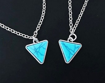 Turquoise Necklace, Triangle Necklace,Silver Necklace,Gift for Her, silver pendant,Bracelet, necklace, everyday jewelry, birthday gift