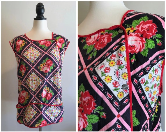 Vintage 1970s Floral Paisley Apron Artist Smock To