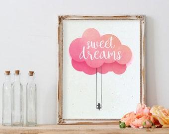 "POSTER PDF PRINTABLE - Baby Sweet dreams. Size 8,2 x 11,7"""