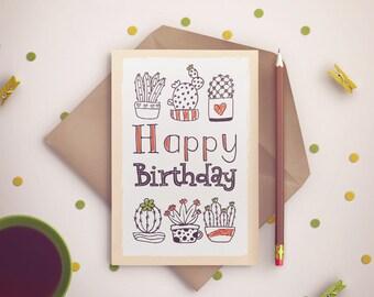 "PDF PRINTABLE card Happy birthday cactus. Size 7""x5"""