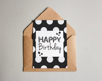 "PDF PRINTABLE card Happy birthday. Size 7""x5"" (18x13cm)"